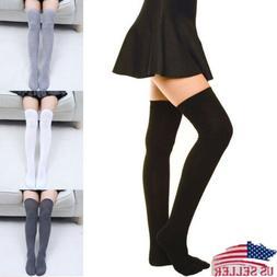 USA Girls Ladies Warm Thigh High Over the Knee Socks Women L
