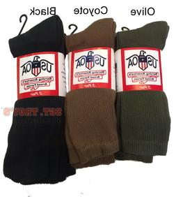 USOA Military Boot Socks Mens Calf Length Anti-Microbial 3 p