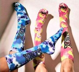 Victorias Secret PINK Knee High Socks Tie Dye Purple Blue PI