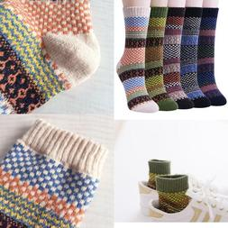 Vintage Style Winter Warm Thick Knit Wool Cozy Crew Socks Lo