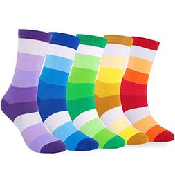 WEILAI SOCKS 6 Pack Mens Hit Color Geometry Cotton Print Lux