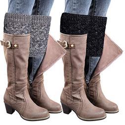 Loritta 2 Pairs Womens Winter Boot Cuffs Crochet Knitted Leg