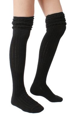 STYLEGAGA Winter Slouch Top Over The Knee High Knit Boot Soc