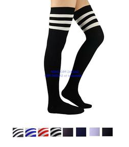 Women Cable Knit Long Stripe Socks Over Knee Thigh High Scho