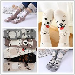 Women Cartoon Socks Dog Animal Printed Cotton Casual Ankle K