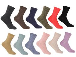 Women Crew Cotton Socks set of 12 Assorted Colors. 9-11