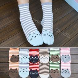 Women Cute 3D Cartoon Animals Striped Socks Cat Footprints C