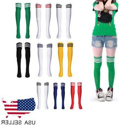Women Football Soccer Striped Thigh High Over The Knee Tube