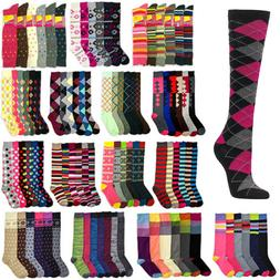 Women Knee High Multi Color Winter Boot Fancy Design Socks 9