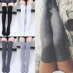 Women Knit Cotton Over The Knee Long Socks Spring Thigh High