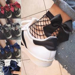 Women Ladies Bow Soft Black Fishnet Mesh Lace Ruffle Socks S
