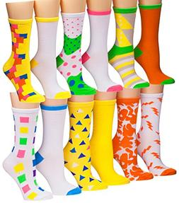 Tipi Toe Women's 12 Pairs Colorful Patterned Crew Socks,  Fi