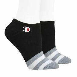Women's Champion 2-pk. Super No-Show Socks, Black, Gray Stri