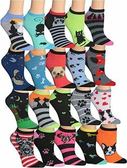 Tipi Toe Women's 20 Pairs Colorful Patterned Low Cut/No Show