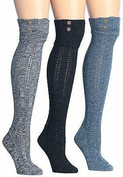 Tipi Toe Women's 3-Pairs Cozy Winter Super Soft Warm Knee Hi