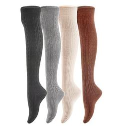 Lian LifeStyle Women's 4 Pairs Over Knee High Thigh-High Cot