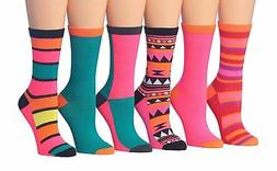 Tipi Toe Women's 6-Pairs Colorful Funky Patterned Crew Dress