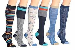 Tipi Toe Women's 6-Pairs Colorful Patterned Knee High Socks