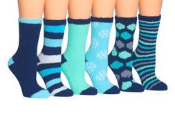 Tipi Toe Women's 6-Pairs Soft Fuzzy Cozy Anti-Skid Crew Sock