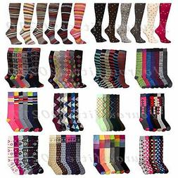 Women's Girl Lady Knee High Socks Lot Multi Pattern School A