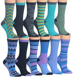 Tipi Toe Women's Ladies 12 Pairs Colorful Funky Fashion Blue