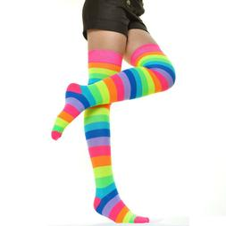 Women's No Show OVER THE KNEE NEON RAINBOW THIGH HIGH Socks