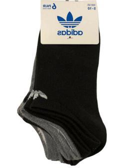 ADIDAS Women's Trefoil No Show Socks Blk/Grey Superlite 6-Pa