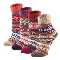 Keaza Womens 4 Pair Pack Vintage Style Cotton Wool Warm Wint