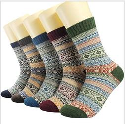 Womens 5 Pairs Winter Wool Socks Cold Weather Soft Warm Thic