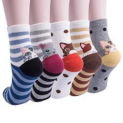 YSense Womens Casual Cotton Crew Animal Multi-Color Socks Sh