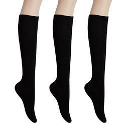 KONY Womens Cotton Knee High Socks - Casual Solid & Triple S