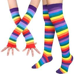 Chalier Womens Rainbow Stripe Knee Thigh High Socks Arm Warm