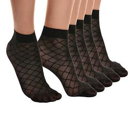Florboom Womens Sexy Squre Striped Patterned Sheer Ankle Dre