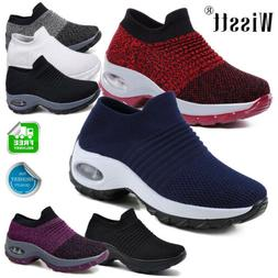 Womens Slip On Breathable Sneakers Trainers Sport Running Ca