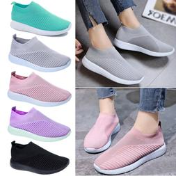 Womens Slip On Breathable Sneakers Trainers Sport Running Te