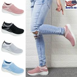 Womens Slip On Trainers Walk Sports Comfy Sock Sneakers Ladi