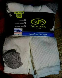ATHLETIC WORKS  men's big and tall crew SOCKS Size 12-15/ 6-