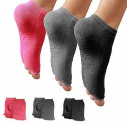 Yoga Socks for Women Non Slip, 3 pcs Toeless Non Skid Sticky