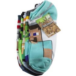 Minecraft Youth Boys No Show Socks Sz 4-10 Large 5 Pair Mult