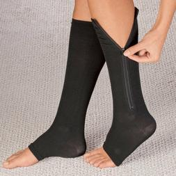 Zippered Compression Socks Support Stockings Leg Calf Men's